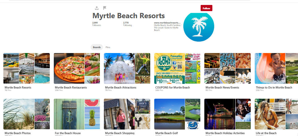 Pinterest marketing for resorts example, Myrtle Beach Resorts
