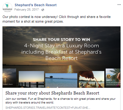 Marketing a Beach Resort photo contest example
