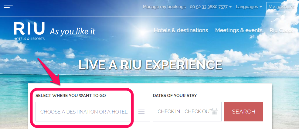 Beach Resort Marketing call to action example, Riu Hotels and Resorts