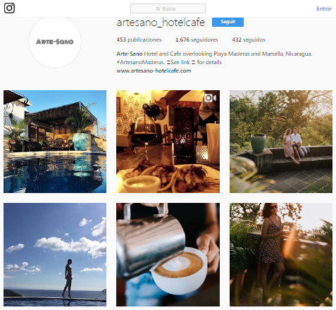 Artesano Hotel and Cafe Nicaragua Instagram page