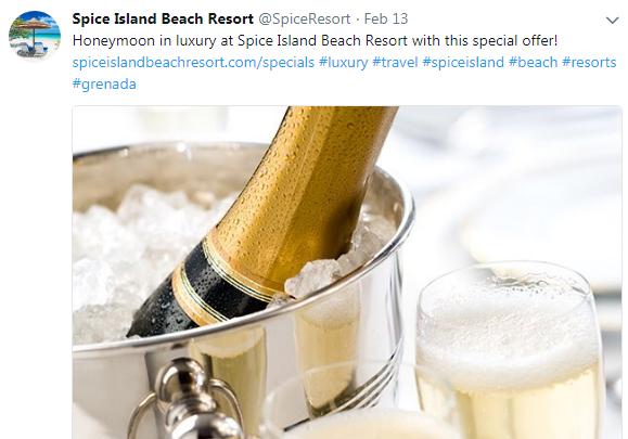 Spice Island Beach Resort Twitter example