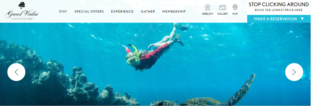 Wailea Beach Resort website marketing example